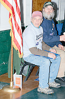 Sanders supporters Greg Raymond, of Peterborough, (left) and Gordon Webber, of Antrim, wait for the arrival of Vermont senator and Democratic presidential candidate Bernie Sanders during a town hall event for senior citizens at the Peterborough Community Center gymnasium in Peterborough, New Hampshire.