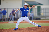 Illinois College Blueboys relief pitcher Jake Schippert (23) delivers a pitch during a game against the Edgewood Eagles on March 14, 2017 at Terry Park in Fort Myers, Florida.  Edgewood defeated Illinois College 11-2.  (Mike Janes/Four Seam Images)