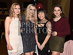 Aoife McCabe, Shauna Hopkins, Katie Vaughey and Nicole Vultur at The Mattock Rangers awards night in the Grove House hotel Dunleer. Photo:Colin Bell/pressphotos.ie