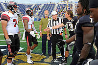 24 September 2011:  FIU's and ULL's captains, together with honorary captain Ralph Gazitua, meet at midfield for the coin toss prior to the game.  The University of Louisiana-Lafayette Ragin Cajuns defeated the FIU Golden Panthers, 36-31, at FIU Stadium in Miami, Florida.