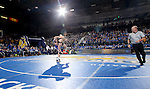 BROOKINGS, SD - DECEMBER 2:   Nate Rotert from SDSU picks up Cash Wilcke from Iowa in their 197 pound match Friday night at Frost Arena in Brookings, SD.(Photo by Dave Eggen/Inertia)