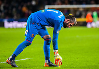 Hull City's goalkeeper Allan McGregor (1) picks up the balls thrown on the pitch during the Sky Bet Championship match between Hull City and Sheff United at the KC Stadium, Kingston upon Hull, England on 23 February 2018. Photo by Stephen Buckley / PRiME Media Images.