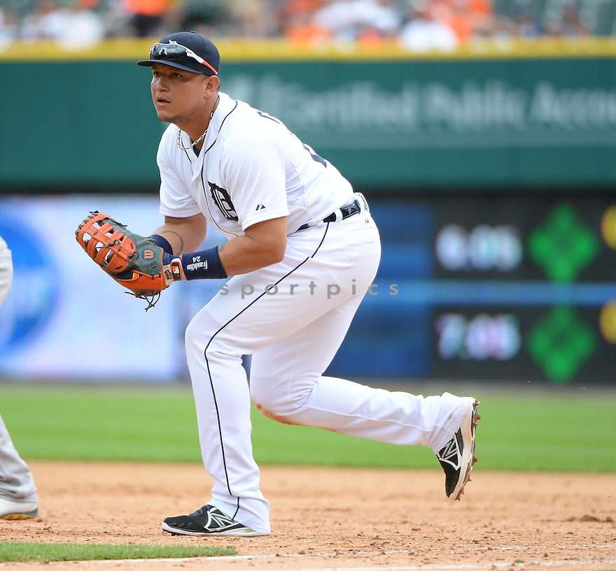 Detroit Tigers Miguel Cabrera (24) during a game against the Oakland A's on July 2, 2014 at Comerica Park in Detroit, MI. The Tigers beat the A's 9-3.