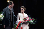 Dan Stevens & Jessica Chastain during the Broadway Opening Night Performance Curtain Call for 'The Heiress' at The Walter Kerr Theatre on 11/01/2012 in New York.