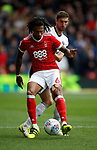 Armand Traore of Nottingham Forest and Chris Basham of Sheffield Utd during the Championship match at the City Ground Stadium, Nottingham. Picture date 30th September 2017. Picture credit should read: Simon Bellis/Sportimage