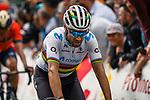 World Champion Alejandro Valverde (ESP) Movistar Team crosses the finish line atop Mur de Huy at the end of the 2019 La Fleche Wallonne, Belgium, 24 April 2019.<br /> Photo by Thomas van Bracht / PelotonPhotos.com / Cyclefile