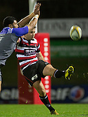 Joe Reynolds clears the ball under pressure. The game of Three Halves, a pre-season warm-up game between the Counties Manukau Steelers, Northland and the All Blacks, played at ECOLight Stadium, Pukekohe, on Friday August 12th 2016. Photo by Richard Spranger.