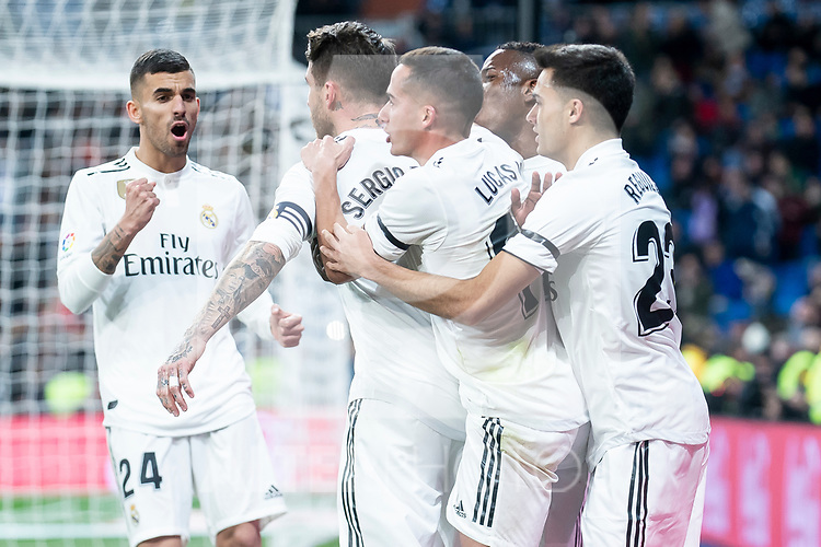 Dani Ceballos, Lucas Vazquez and Sergio Ramos of Real Madrid celebrating a goal during King's Cup 2018-2019 match between Real Madrid and CD Leganes at Santiago Bernabeu Stadium in Madrid, Spain. January 09, 2019. (ALTERPHOTOS/Borja B.Hojas)