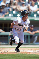 Charlie Tilson (2) of the Charlotte Knights hustles down the first base line against the Gwinnett Stripers at BB&T BallPark on May 2, 2018 in Charlotte, North Carolina.  The Knights defeated the Stripers 6-5.  (Brian Westerholt/Four Seam Images)
