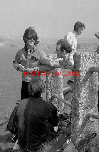 The Beatles George Harrison and John Lennon during filming of Magical Mystery Tour in Newquay, Cornwall..© Chris Walter..