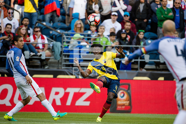 Seattle, WA - Thursday, June 16, 2016: Ecuador defender Juan Carlos Paredes (4) crosses the ball during a Quarterfinal match of the 2016 Copa America Centenrio at CenturyLink Field.
