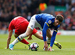 Ross Barkley of Everton wins the ball off Lucas Leiva of Liverpool during the English Premier League match at Anfield Stadium, Liverpool. Picture date: April 1st 2017. Pic credit should read: Simon Bellis/Sportimage