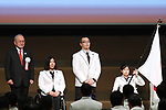 (L-R)  Mitsunori Torihara,  Kuniko Obinata,  Satoru Sudo,  Momoka Muraoka (JPN), <br /> February 26, 2018 : <br /> Japan National Team Organization Ceremony <br />  for PyeongChang 2018 Paralympics Winter Games <br />  in Tokyo, Japan. <br /> (Photo by Sho Tamura/AFLO SPORT)