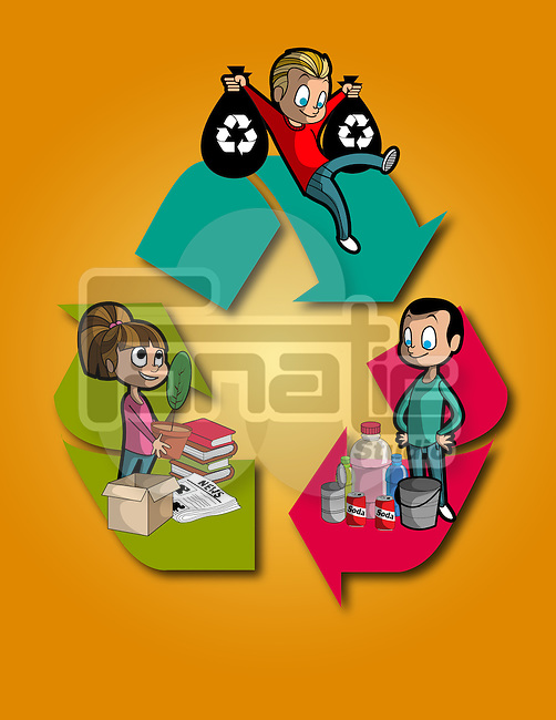 Illustration of children with objects on recycle sign over orange background