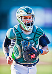 16 July 2017: Vermont Lake Monsters catcher Iolana Akau returns to the dugout during a game against the Auburn Doubledays at Centennial Field in Burlington, Vermont. The Monsters defeated the Doubledays 6-3 in NY Penn League action. Mandatory Credit: Ed Wolfstein Photo *** RAW (NEF) Image File Available ***