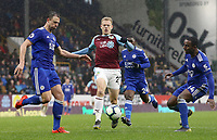 Burnley's Matej Vydra (centre) vies for possession with Leicester City's Jonny Evans<br /> <br /> Photographer Rich Linley/CameraSport<br /> <br /> The Premier League - Burnley v Leicester City - Saturday 16th March 2019 - Turf Moor - Burnley<br /> <br /> World Copyright © 2019 CameraSport. All rights reserved. 43 Linden Ave. Countesthorpe. Leicester. England. LE8 5PG - Tel: +44 (0) 116 277 4147 - admin@camerasport.com - www.camerasport.com