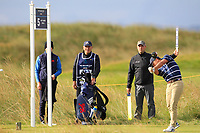 John Pak (USA) on the 5th tee during the Foursomes at the Walker Cup, Royal Liverpool Golf CLub, Hoylake, Cheshire, England. 07/09/2019.<br /> Picture Thos Caffrey / Golffile.ie<br /> <br /> All photo usage must carry mandatory copyright credit (© Golffile | Thos Caffrey)