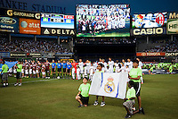 Teams line up for introductions. Real Madrid defeated A. C. Milan 5-1 during a 2012 Herbalife World Football Challenge match at Yankee Stadium in New York, NY, on August 8, 2012.