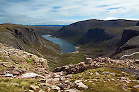 Beinn Mheadhoin, Loch Avon and the Loch Avon Basin from above Hells Lum Crag, Cairngorm National Park, Badenoch and Speyside, Highland