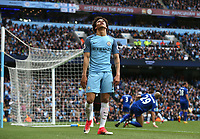 Manchester City's Leroy Sane reacts after missing a chance to score<br /> <br /> Photographer Stephen White/CameraSport<br /> <br /> The Premier League - Manchester City v Leicester City - Saturday 13th May 2017 - Etihad Stadium - Manchester<br /> <br /> World Copyright &copy; 2017 CameraSport. All rights reserved. 43 Linden Ave. Countesthorpe. Leicester. England. LE8 5PG - Tel: +44 (0) 116 277 4147 - admin@camerasport.com - www.camerasport.com