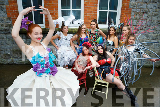 Ballerina Laura Daly with her fellow Castleisland Presentation School Junk Kouture dress designers front row l-r: Eilish Brosnan, Aine Sheehan. Back row:  Aisling Kearney, Andrea O'Connor, Roisin Brosnan, Edel Brosnan,  Joyce O'Connor, Marlyn Cahill,