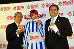 December 27, 2011, Tokyo, Japan - Presidents Ernest M. Higa, left, of Higa Industries and Darrel van Ligten of Wendys/Arbys International Inc celebrate the re-launch of Wendys first hamburger restaurant in Tokyo on Tuesday, December 27, 2011. In December 2009, Wendys did not renew its franchise agreement with its former franchisee for Japan, resulting in the closure of 71 restaurants. Wendys/Arbys International Inc and Higa Industries signed a joint venture agreement to develop and operate Wendys restaurants in Japan. Wendys Japan plans to open 100 stores in the next five years. (Photo by Natsuki Sakai/AFLO) [3615] -mis-
