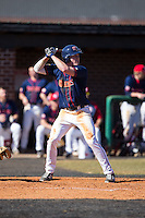 Cody Ezolt (6) of the Shippensburg Raiders at bat against the Belmont Abbey Crusaders at Abbey Yard on February 8, 2015 in Belmont, North Carolina.  The Raiders defeated the Crusaders 14-0.  (Brian Westerholt/Four Seam Images)
