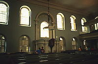 Boston:  Old South Meeting House, 1729. Great pulpit in the middle of the North Wall, on the long axis; the width is 67 ft. Where the Boston Tea Party began.  Photo '91.