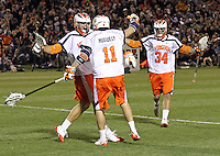 University of Virginia men's lacrosse team led by head coach Dom Starcia has released a statement saying they will play out the rest of the season Tuesday May 4, 2010 in Charlottesville, VA.  George Huguely, 22, a fourth-year student from Chevy Chase, Md., has been charged with first-degree murder in the death of UVa women's lacrosse player Yeardley Love, 22, a fourth-year student from Cockeysville, Md., that took place early Monday morning May 3, 2010 in Charlottesville, Va. Photo/Andrew Shurtleff