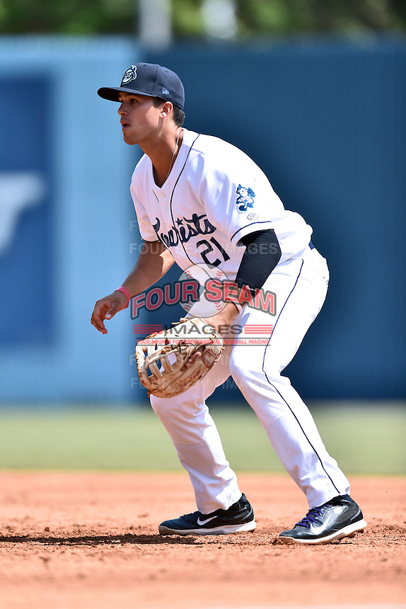 Asheville Tourists first baseman Josh Fuentes (21) during a game against the Lexington Legends on May 3, 2015 in Asheville, North Carolina. The Legends defeated the Tourists 6-3. (Tony Farlow/Four Seam Images)