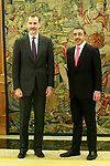 King Felipe VI of Spain (l) in Audience with Sheikh Abdullah Bin Zayed al Nahyan, Minister of Foreign Affairs and International Cooperation of the State of the United Arab Emirates. January 29,2018. (ALTERPHOTOS/Acero)
