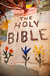Tribute to The Holy Bible at Leonard Knight's Salvation Mountain, near Niland, Calif.