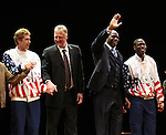 "Tug Coker, Larry Bird, Earvin 'Magic' Johnson, Kevin Daniels.during the Broadway Opening Night Performance Curtain Call for ""Magic / Bird"" at the Longacre Theatre in New York City on April 11, 2012"