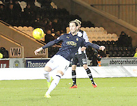 Mark Kerr clearing in the St Mirren v Falkirk Scottish Professional Football League Ladbrokes Championship match played at the Paisley 2021 Stadium, Paisley on 1.3.16.