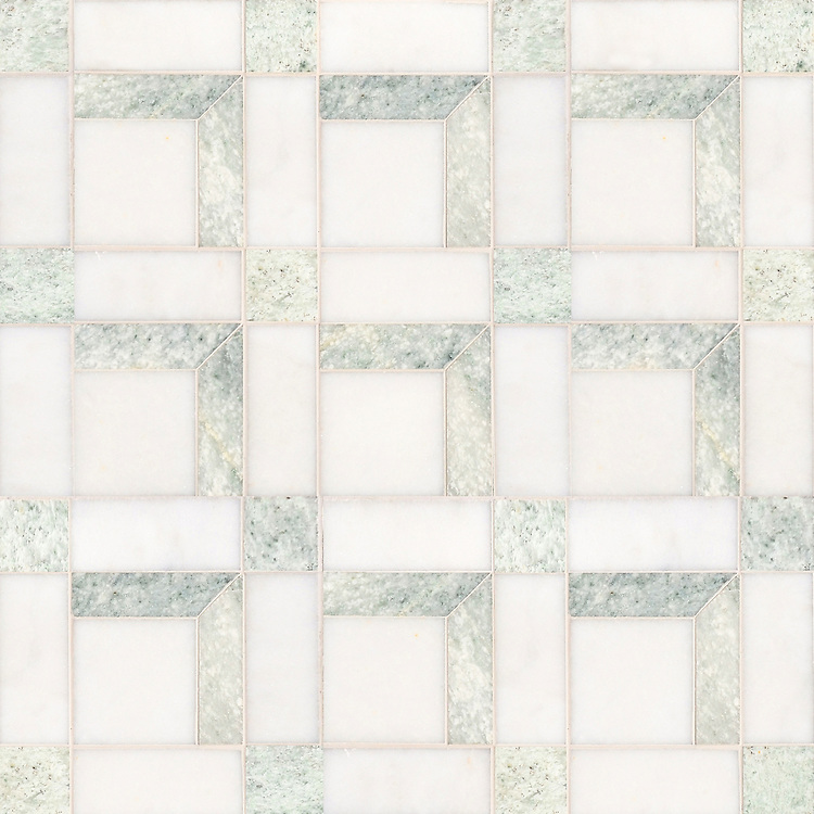 Paseo, a handmade mosaic shown in polished Ming Green and Afyon White, was designed by Paul Schatz as part of the Illusions® collection by New Ravenna.
