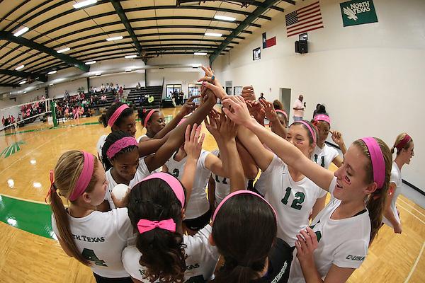 DENTON, TX - OCTOBER 3: University of North Texas Mean Green Volleyball Team v Louisiana Tech at Volleyball Athletic Complex in Denton on October 3, 2014 in Denton, Texas.  (Photo by Rick Yeatts)