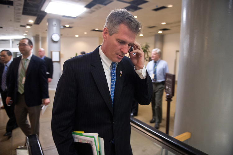 UNITED STATES - MAY 24: Sen. Scott Brown, R-Mass., arrives in the Capitol via the Senate subway for votes on the Food and Drug Administration reauthorization bill on Thursday, May 24, 2012. (Photo By Bill Clark/CQ Roll Call)