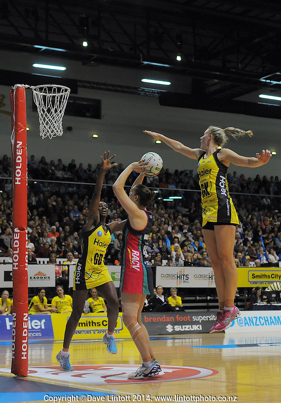 Action from the ANZ Netball Championship match between the Central Pulse and Melbourne Vixens at TSB Bank Arena, Wellington, New Zealand on Saturday, 8 March 2014. Photo: Dave Lintott / lintottphoto.co.nz