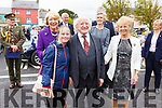 Laura Dillane from Lisselton meeting and greeting  President Higgins and his wife Sabina and Julie Gleeson, chairperson of Listowel Tidy Towns Committee on Saturday morning