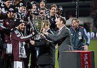 21 November 2010:  MLS Commssioner Don Garber presents the MLS Cup to Colorado Rapids defender/midfielder Pablo Mastroeni #25 during the 2010 MLS Cup Final between the Colorado Rapids and FC Dallas at BMO Field in Toronto, Ontario Canada..The Colorado Rapids won 2-1 in extra time...