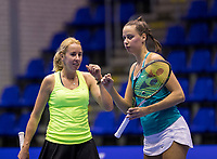 Rotterdam, Netherlands, December 16, 2017, Topsportcentrum, Ned. Loterij NK Tennis, Womans double final: Chayenne Ewijk (NED) (L) and Erika Vogelsang (NED) <br /> Photo: Tennisimages/Henk Koster