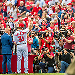 3 April 2017: Washington Nationals pitcher Max Scherzer acknowledges being honored for winning his second Cy Young Award and is photographed by the media prior to a game against the Miami Marlins on Opening Day at Nationals Park in Washington, DC. The Nationals defeated the Marlins 4-2 to open the 2017 MLB Season. Mandatory Credit: Ed Wolfstein Photo *** RAW (NEF) Image File Available ***