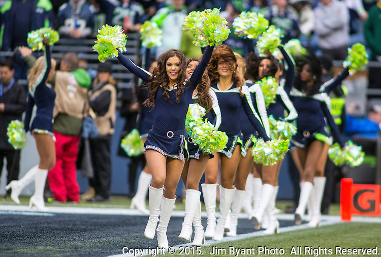 Seattle Seahawks Seagals perform during their game with the Green Bay Packers during the NFC Championship game at CenturyLink Field in Seattle, Washington on January 18, 2015.  The Seattle Seahawks beat the Green Bay Packers in overtime 28-22 for the NFC Championship Seattle.  ©2015. Photo by Jim Bryant, All Rights Reserved.
