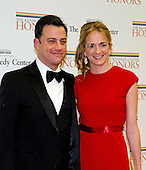 Comedian Jimmy Kimmel and Molly McNearney arrive for the formal Artist's Dinner honoring the recipients of the 2012 Kennedy Center Honors hosted by United States Secretary of State Hillary Rodham Clinton at the U.S. Department of State in Washington, D.C. on Saturday, December 1, 2012. The 2012 honorees are Buddy Guy, actor Dustin Hoffman, late-night host David Letterman, dancer Natalia Makarova, and the British rock band Led Zeppelin (Robert Plant, Jimmy Page, and John Paul Jones)..Credit: Ron Sachs / CNP
