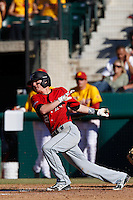 Ryan Raslowsky #2 of the Cal State Northridge Matadors bats against the USC Trojans at Dedeaux Field on February 24, 2013 in Los Angeles, California. (Larry Goren/Four Seam Images)