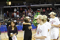 March 14, 2010.  Roslyn Gold-Onwude embraces Head Coach Tara VanDerveer after the Stanford Cardinal beat the UCLA Bruins to win the 2010 Pac-10 Tournament.