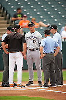Akron RubberDucks manager Dave Wallace (17) during the lineup exchange before the second game of a doubleheader against the Bowie Baysox with manager Gary Kendall (jacket), umpires Ryan Benson, Rich Grassa, and Brian Peterson on June 5, 2016 at Prince George's Stadium in Bowie, Maryland.  Bowie defeated Akron 12-7.  (Mike Janes/Four Seam Images)