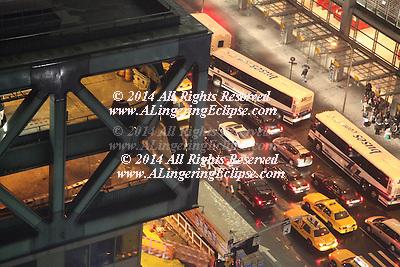 New York City Traffic,Midtown Manhattan, Looking Down from Skyscraper