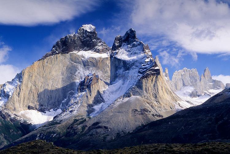 Paine massif sean across Lago Pehoe, Torres del Paine National Park