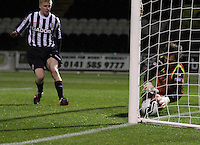 Michal Arivnak saves on the line in the St Mirren v Dunfermline Athletic Clydesdale Bank Scottish Premier League U20 match played at St Mirren Park, Paisley on 2.10.12.